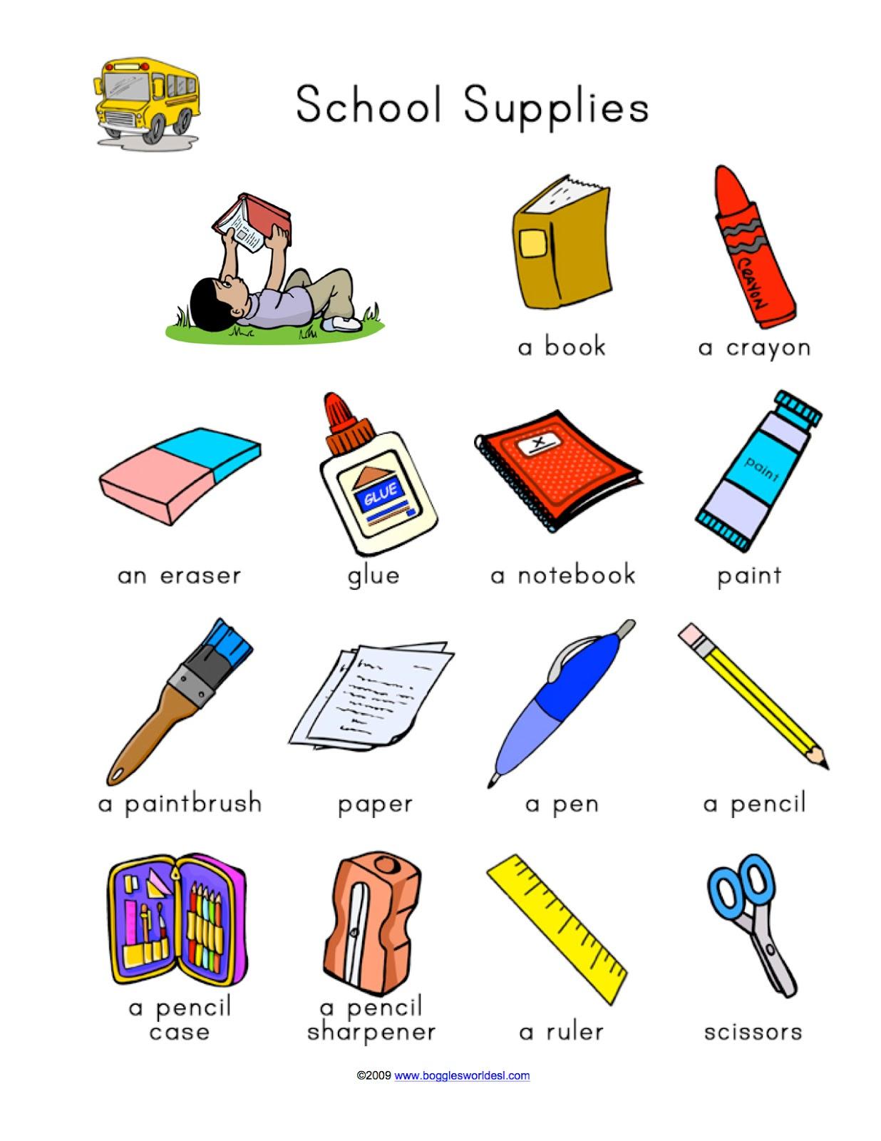 SCHOOL OBJECTS - MATCHING worksheet - Free ESL printable ... |Esl Classroom Supplies