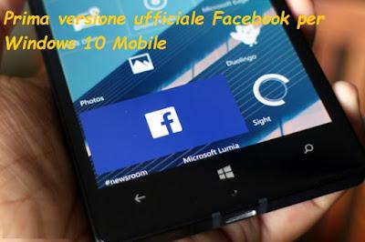 App ufficiale Facebook per Windows 10 Mobile