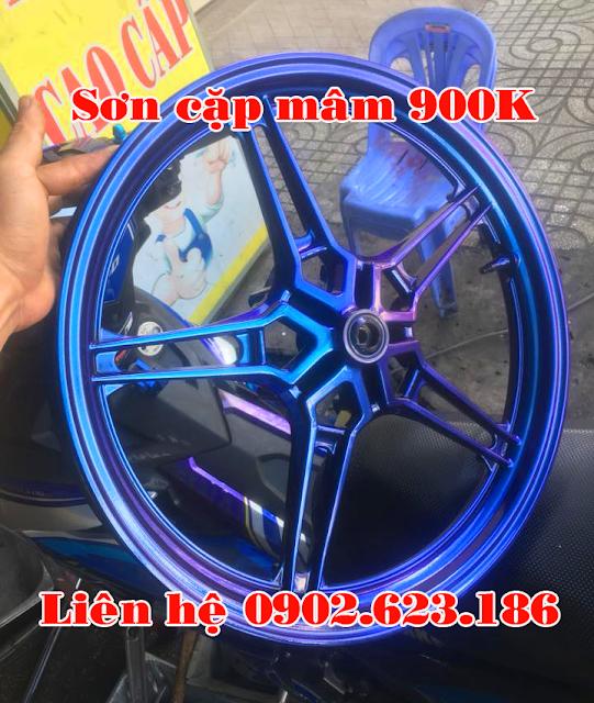 Sơn mâm xe Exciter 150 màu titan đổi màu tím xanh
