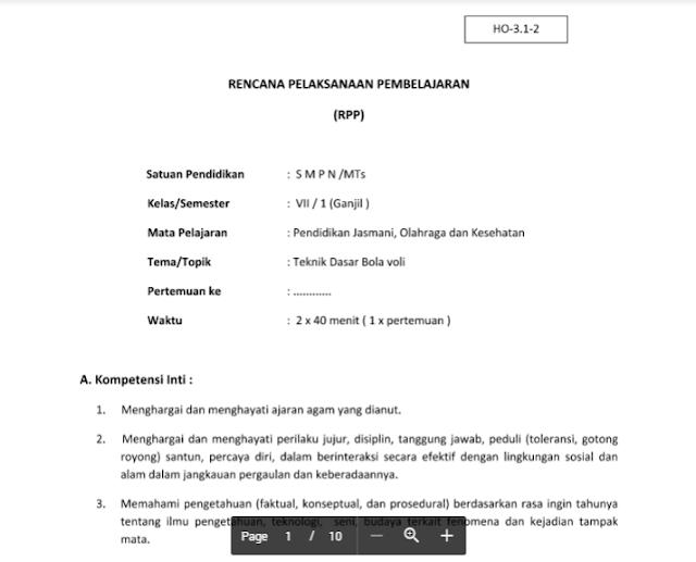 RPP PJOK SMP/MTs Kelas 8 Kurikulum 2013 Semester 1 dan 2 docx