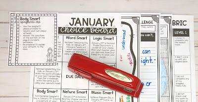Picture of January Choice Board Elements ready for grading.