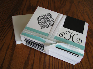 Personalized Monogramed Wedding Thank You Cards