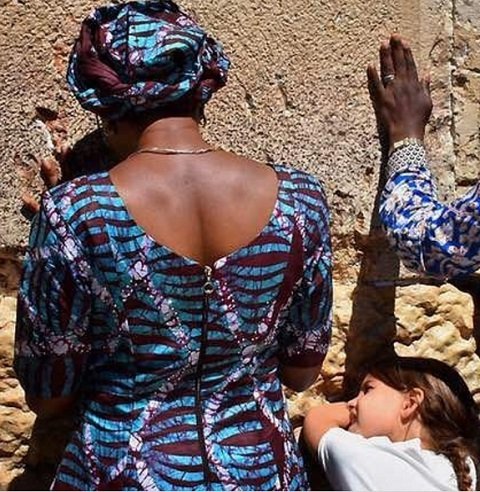 Acting President's Wife, Dolapo Osinbajo Prays for Nigeria at the Wailing Wall in Jerusalem