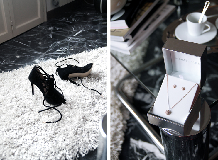 Lace-up heels, Michael Kors parure for Valentine's