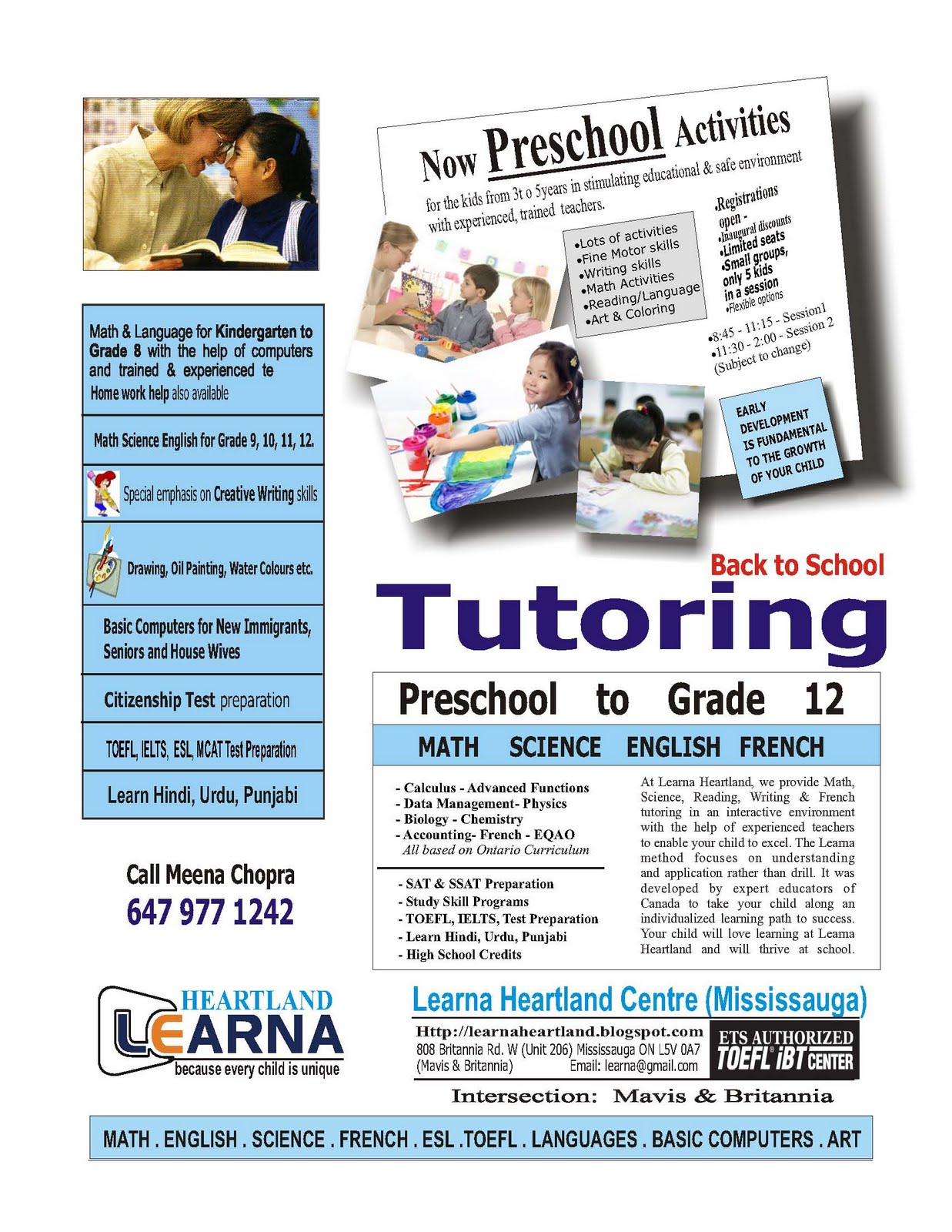 LEARNA HEARTLAND (Mississauga) - TUTORING: Join now for