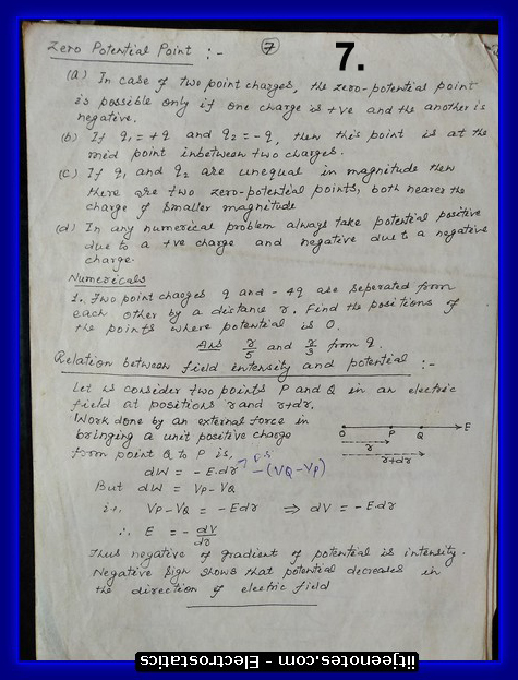 electrostatics revision notes