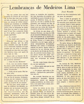Obituário sw Medeiros Lima por Joué Montello