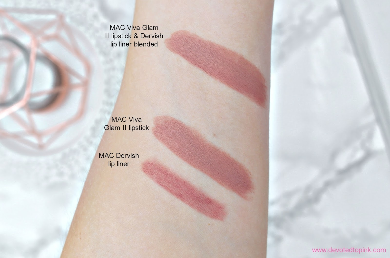 MAC Viva Glam II lipstick, MAC Dervish Lip Liner, swatches