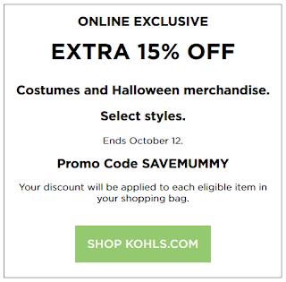 Kohls coupon save 15% Off Halloween Costumes