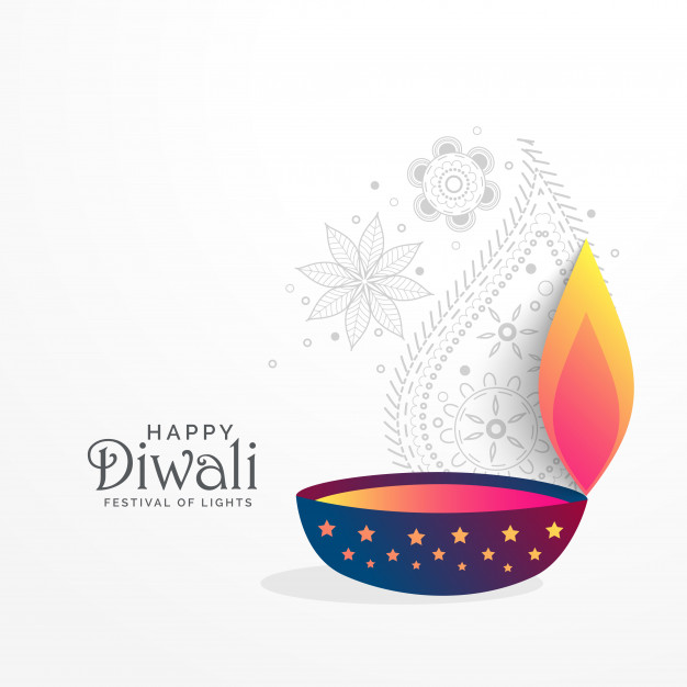 Creative diwali festival greeting background with diya Free Vector
