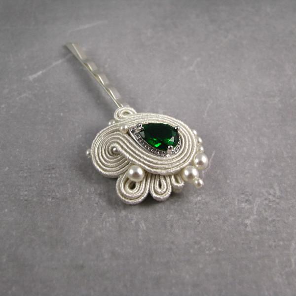 Sutasz ślubny ivory - wsuwka do włosów z zielonym kryształkiem.