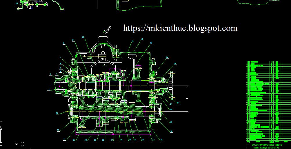 Bản vẽ đồ án tính toán thiết kế hộp số xe tải