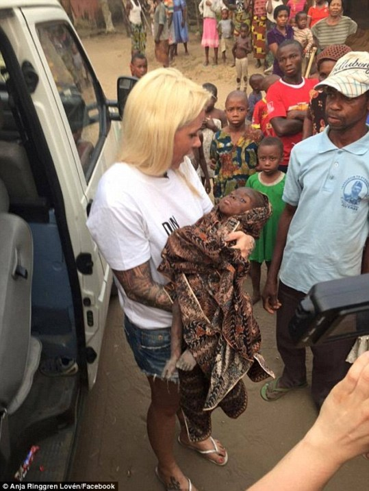 The two year old Nigerian boy was walking around riddled with worms and eating scraps on the road. He was tortured and abandoned for a 'very valid' reason by his parents -he was a witch.  When Anja Ringgren Loven heard about the boy, she drove down to find him.