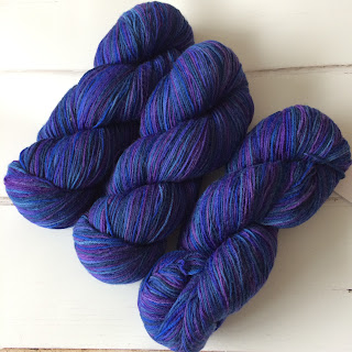 Three skeins of tonal blue Knit Picks yarn