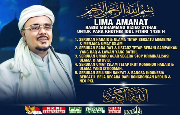 LIMA Amanat Habib Rizieq Untuk Khatib Idul Fitri 1438 H ...