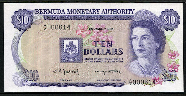 Bermuda dollars world banknotes currency collecting Queen Elizabeth
