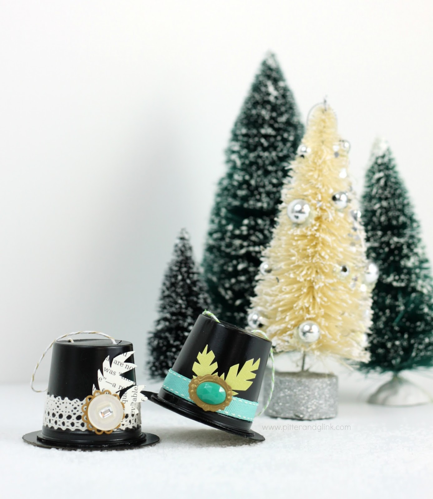 64805da04a Recycled K-Cup Snowman Hat Ornaments. What a great upcycle!  pitterandglink.com
