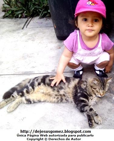Foto de una niña posando con su gato. Foto de gato de Jesus Gómez