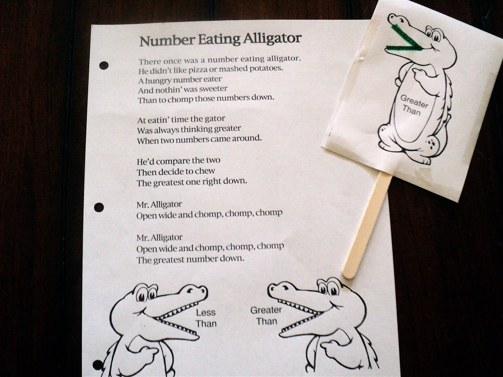 Math Monday The Number Eating Alligator Greater Than Less Than