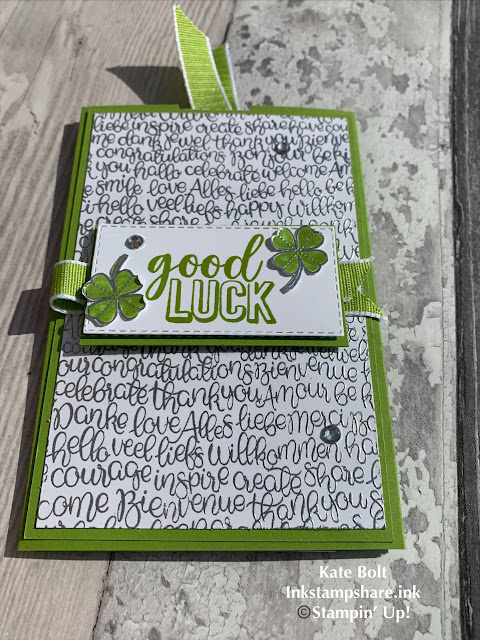 Good luck card in Granny Apple Green and Whisper White with Silver embossing using the Amazing Life and Handwritten stamps. Hand made double slider card for Kylie's International Blog Highlights.