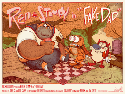 "Ren & Stimpy ""Fake Dad"" Screen Print by Florian Bertmer x Mondo"