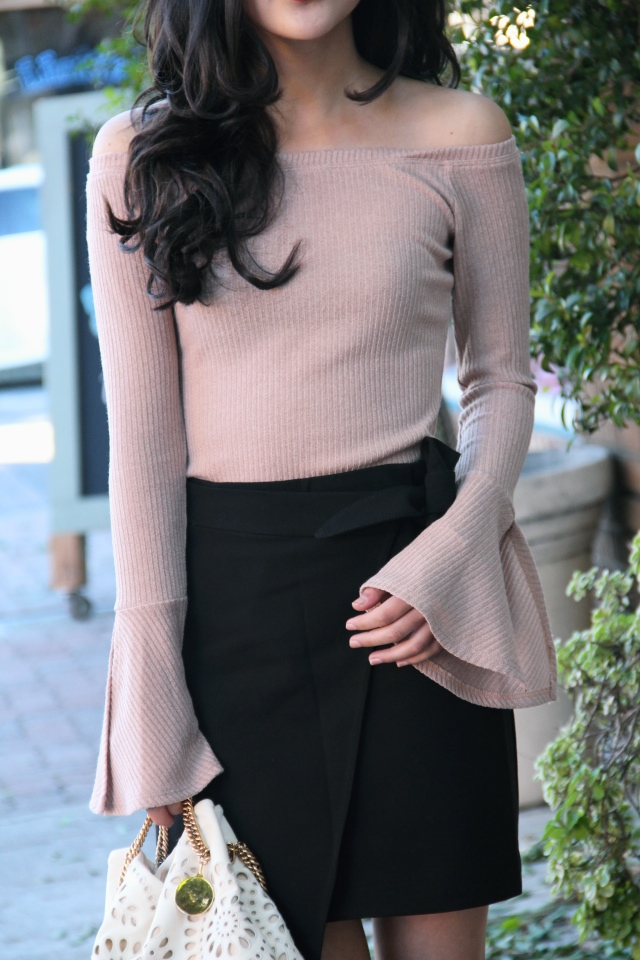 nordstrom mimi chica off the shoulder blush pink nude neutral sweater black h&m bow wrap skirt