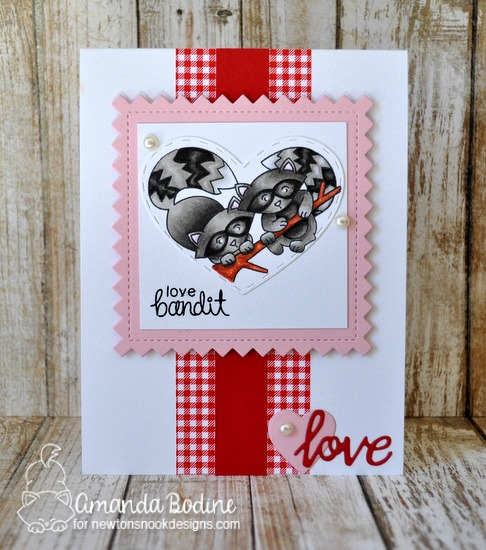 Cute Love Bandit Raccoon Card by Amanda Bodine | Woodland Duos stamp set by Newton's Nook Designs #newtonsnook