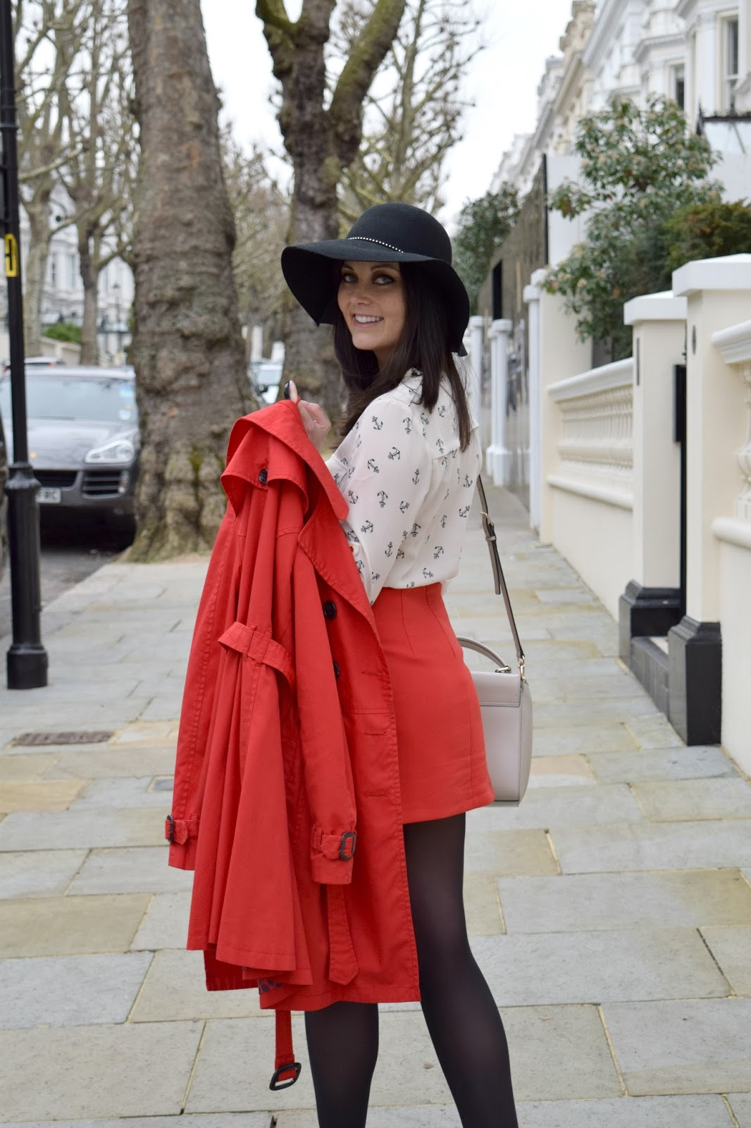 Red H&M coat blogger fashion ootd Kensington
