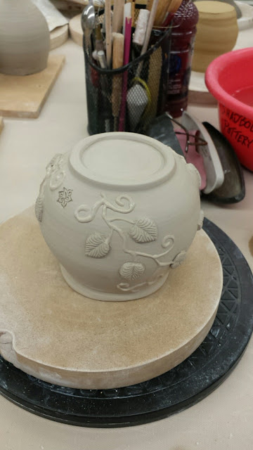 Slip trailed and sprigged pottery / ceramic vessel by Lily L, in progress.