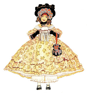 fashion antique girl dress illustration clip art