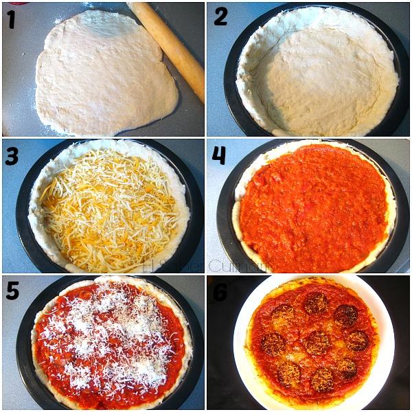 Pizza casera estilo Chicago con pepperoni