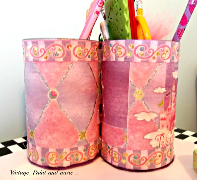 Vintage, Paint and more... recycled tin cans crafted with scrapbook supplies for pencil holders
