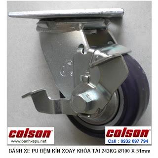 Bánh xe nhựa PU phi 100 có khóa chịu tải nặng 243kg | S4-4209-925P-B3 www.banhxepu.net