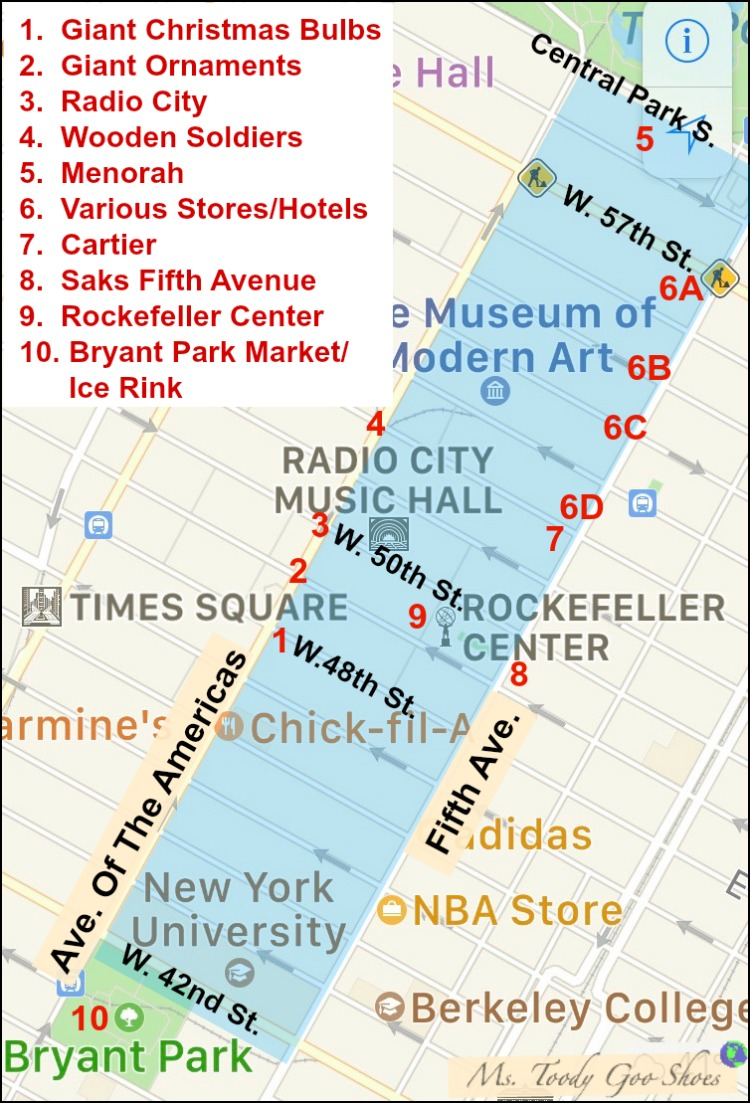 Midtown  Manhattan Holiday Walking Tour Map | Ms. Toody Goo Shoes
