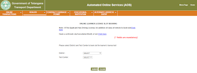Learner's Driving License in Telangana