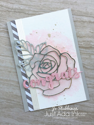 Jo's Stamping Spot - Just Add Ink #386 using Rose Garden thinlits and Sunshine Wishes dies by Stampin' Up!