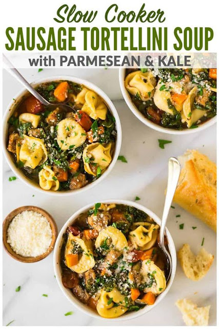 Slow Cooker Tortellini Soup with Sausage and Kale