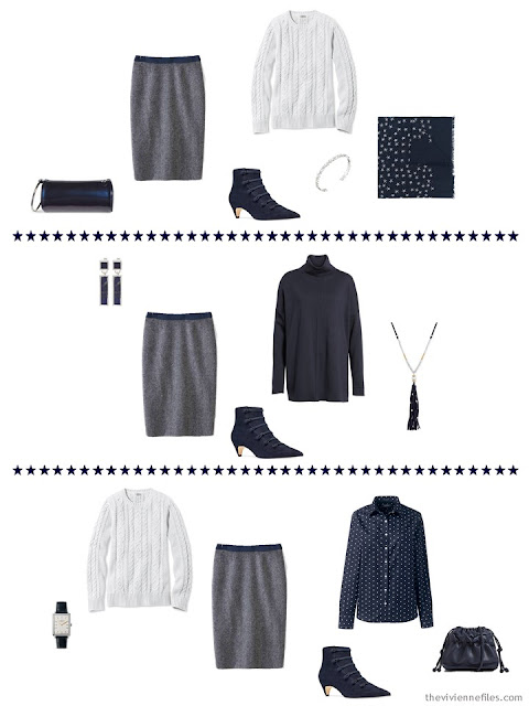 3 outfits from a navy and white cool weather travel capsule wardrobe