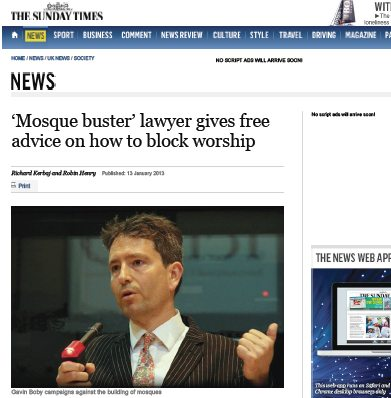 Gavin Boby — Sunday Times article