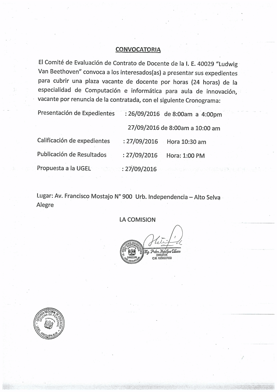 Convocatoria para contrato docente 2016 i e ludwig van for Convocatoria para docentes