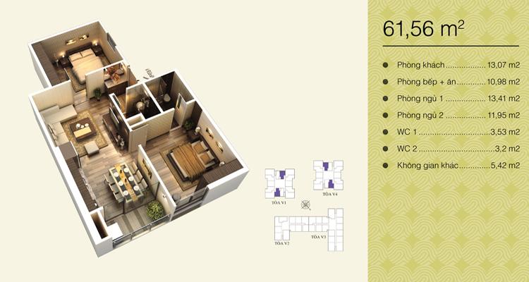 Home City Trung Kính - căn 61,56 m2
