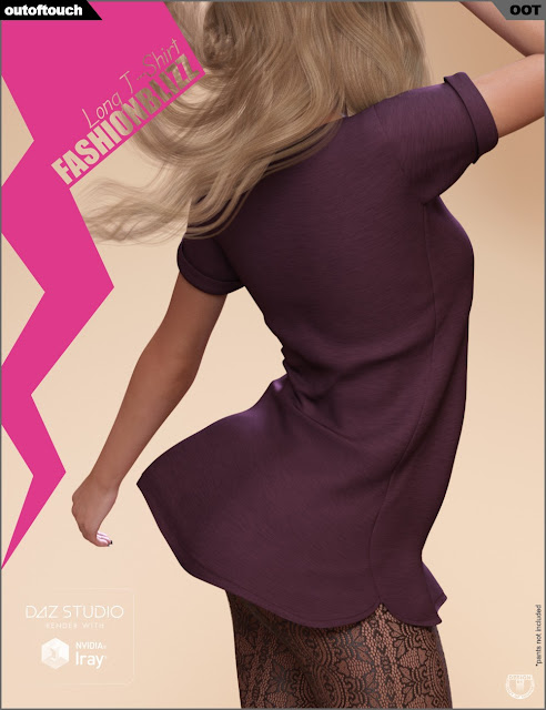 Fashion Blizz - Long T-Shirt for Genesis 3 Female