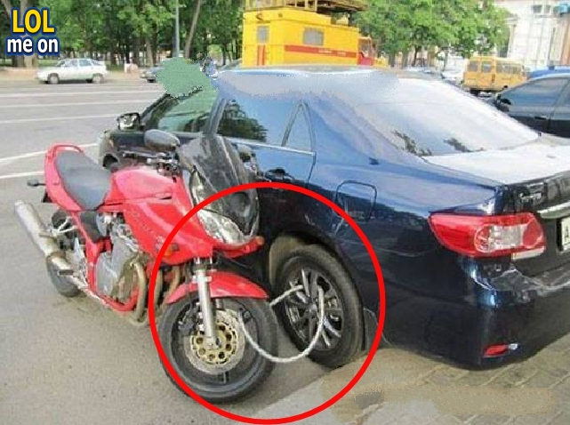 "funny fail and WTF picture shows a motorcycle Linked in car from ""LOL me on"""