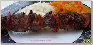Vie quotidienne de FLaure : Brochettes de bœuf, marinade et poivron