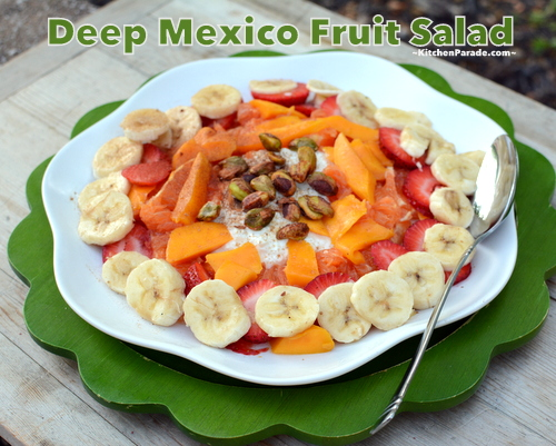 Deep Mexico Fruit Salad ♥ KitchenParade.com, just summer fruit atop a mound of cottage cheese.