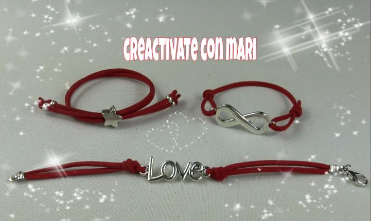 realizadas con antelina fina de color rojo, un tipo cordón muy adecuado para San Valentín o día de los enamorados, pero se pueden realizar de la misma