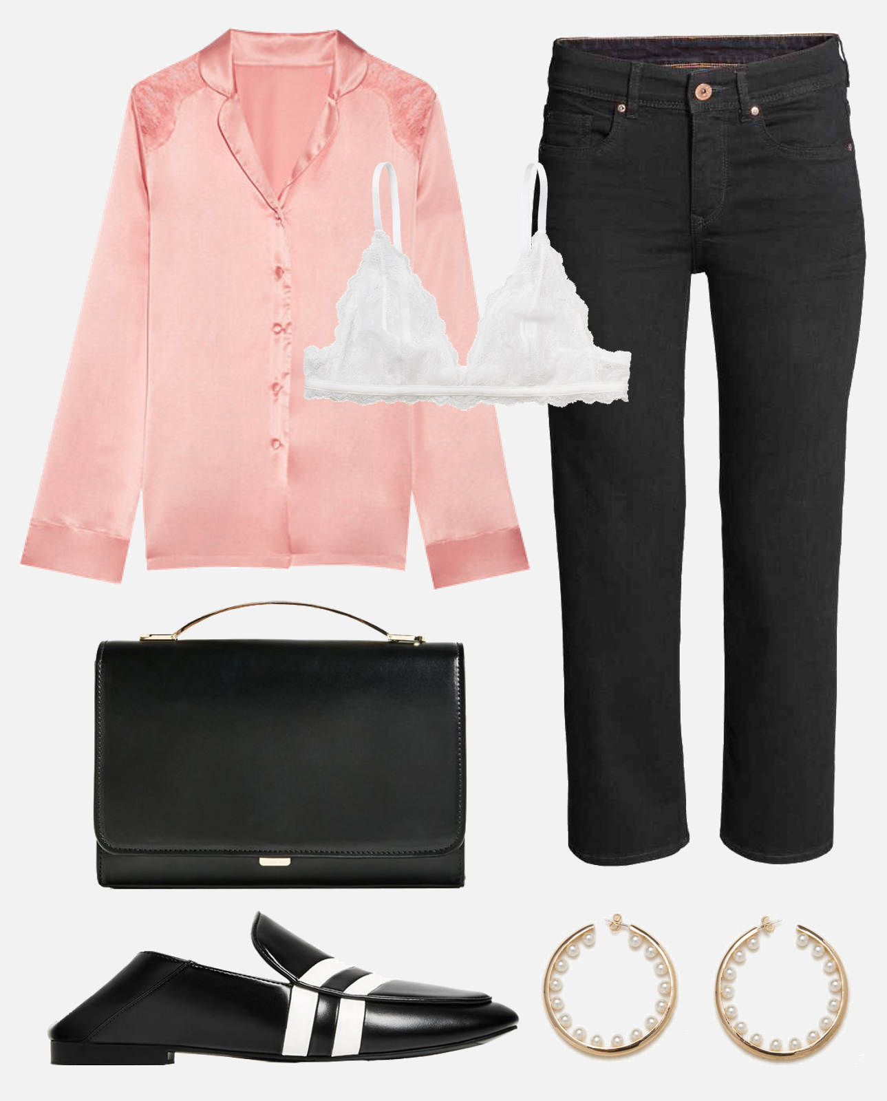 zara mocassim blackshoes silk shirt pink h&m fashion outfit ootd