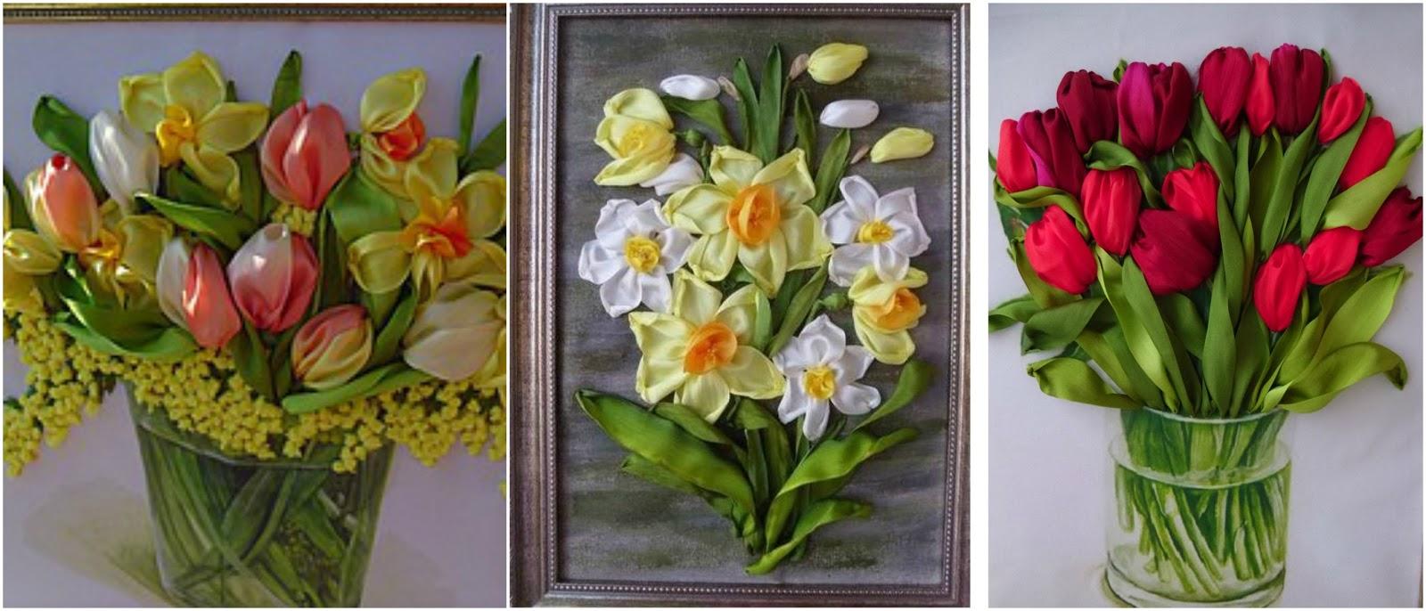 Haz Lindos Cuadros Bordados Con Flores De Liston Haz Manualidades