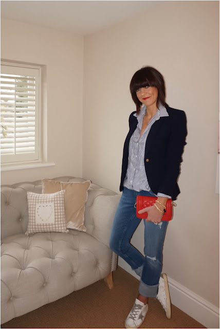 My Midlife Fashion, Zara navy blazer, striped shirt, cut off jeans, golden goose superstar trainers, monica vinader initial pendant, leather quilted handbag