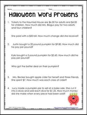 the best of teacher entrepreneurs ii free math lesson halloween decimal word problems. Black Bedroom Furniture Sets. Home Design Ideas
